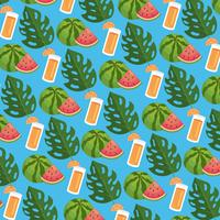 Seamless background with watermelon and drink with leaves vector