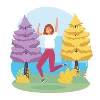 Jeune femme, sauter, dans parc