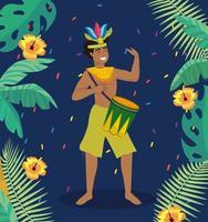 Músico de carnaval masculino com tambor e fantasia