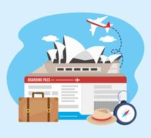 Sydney opera house with airplane tickets and suitcase