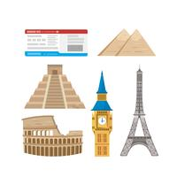Set of travel elements and landmarks