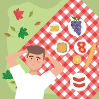 Aerial view of man relaxing on picnic blanket with picnic food