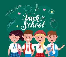 Back to school message on chalkboard with group of students vector