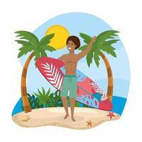 Homme avec planche de surf sur la plage
