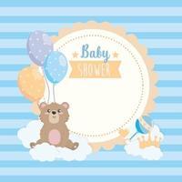 Baby shower label met teddybeer en ballonnen