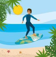 Mens in wetsuit op surfplank in oceaan