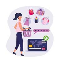 Mujer de compras con cesta y mercancía al por menor