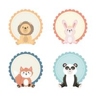 Set of baby animal labels