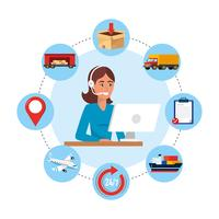 Female call center agent with computer and delivery service objects