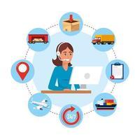Weiblicher Kundenkontaktcenteragent mit Computer- und Zustelldienstgegenständen