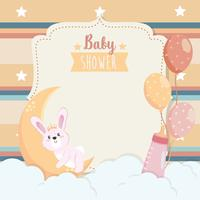 Baby shower card with bunny on moon with clouds and balloons