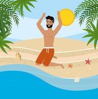 Joven con barba saltando en la playa