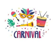 Cartaz de carnaval com máscara, bateria, maracas e trompete