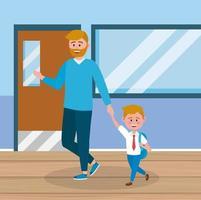 Pai e filho no corredor da escola
