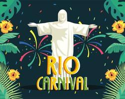 Rio carnival poster with christ the redeemer