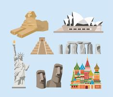 Set of famous destination landmarks