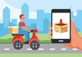 Delivery man on scooter and smartphone with box display