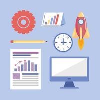 Satz Geschäftsstrategieikonen und -gegenstände