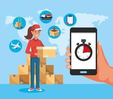 Femme de livraison tenant une boîte et smartphone avec chronomètre