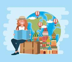 Woman sitting on luggage with red square and world map