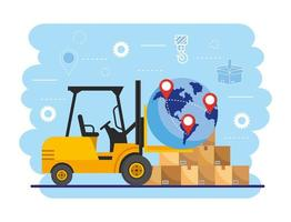 Forklift with globe and boxes