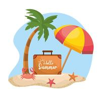 Hello summer message on suitcase with palm trees