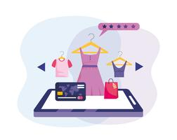 Online shopping tablet technology with credit card and clothes