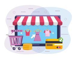 Tableta de compras en línea con toldo a rayas y carrito de compras