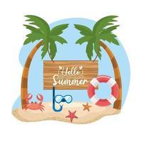 Bonjour message d'été sur panneau en bois avec masque et flotteur
