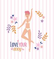Woman with red hair in underclothes with love your body message