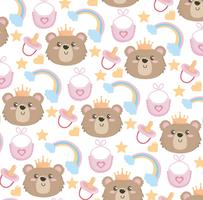 Seamless background with teddy bear faces and rainbows
