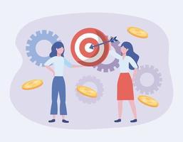 Donne d'affari con obiettivo e ingranaggi