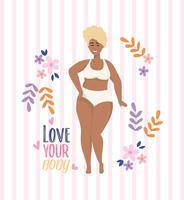 Love your body message with African American woman in underclothes
