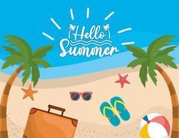 Bonjour message sur la plage avec valise et sandales sur le sable