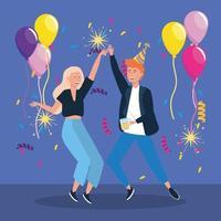 Homem e mulher dançando com balões e confetes