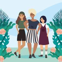 Young diverse women with plants and flowers