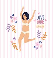 Asian woman in underclothes with love your body message