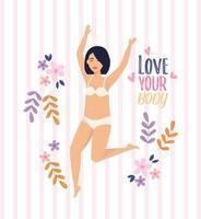Donna asiatica in biancheria intima con amore il messaggio del tuo corpo
