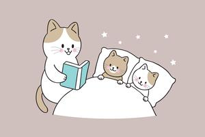 mother cat reading book baby cat