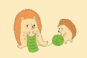 hedgehog and baby knitting