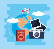 Camera with passport and airplane with global map