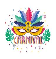 Carnival poster with feather and mask