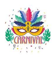 Karnevalsaffisch med fjäder och mask