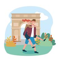 Man carrying woman in front of arc de triomphe