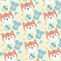 Baby seamless pattern fox with pacifier and diaper pin