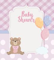 Baby shower card with teddy bear and balloons with cloud