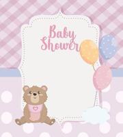 Behandla som ett barn duschkort med nallebjörn och ballonger med moln