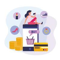Mujer con teléfono inteligente y compras en línea con tarjeta de crédito