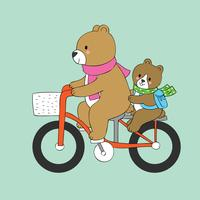 bear and baby riding a bike to school