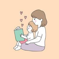 libro di lettura della figlia e della madre